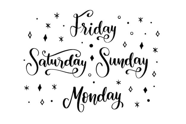 Collezione di lettere dei giorni della settimana Vettore gratuito