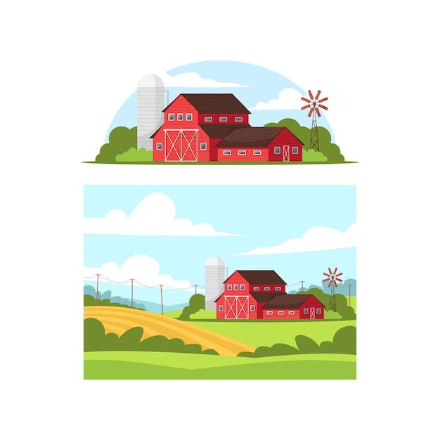 Daytime farm life semi   illustration set Premium Vector