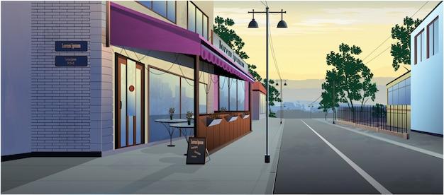 Daytime landscape cafe on the street. Premium Vector