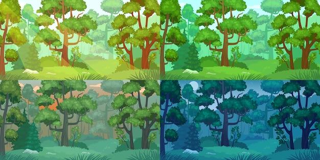 昼間の森の風景。 Premiumベクター