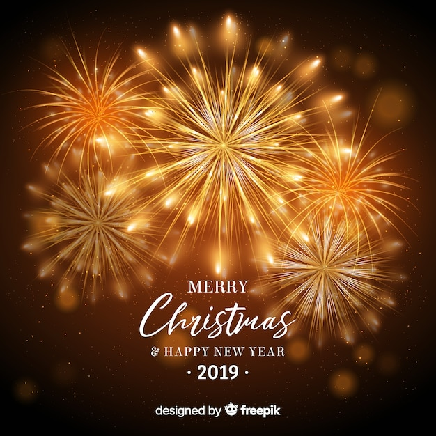 Dazzling fireworks new year background Free Vector