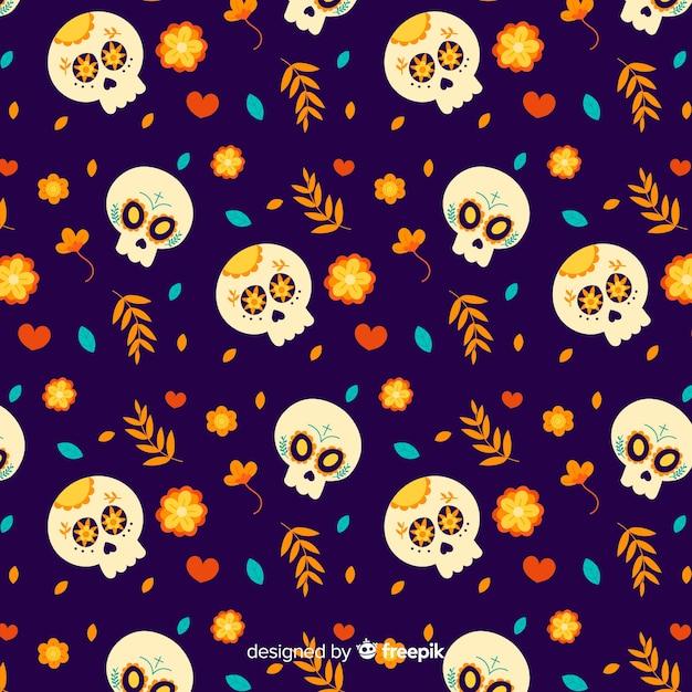 Череп с цветами для рисунка de de muertos Бесплатные векторы