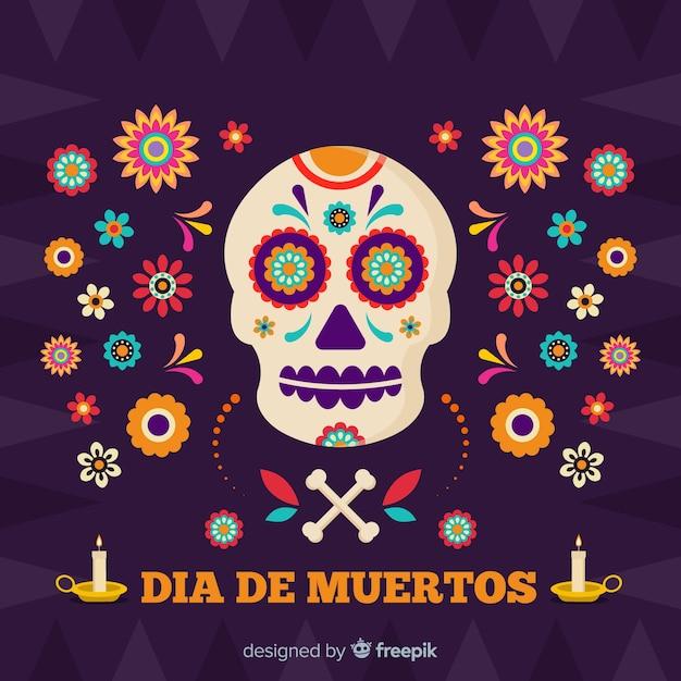 Череп в окружении цветов фона de muertos Бесплатные векторы