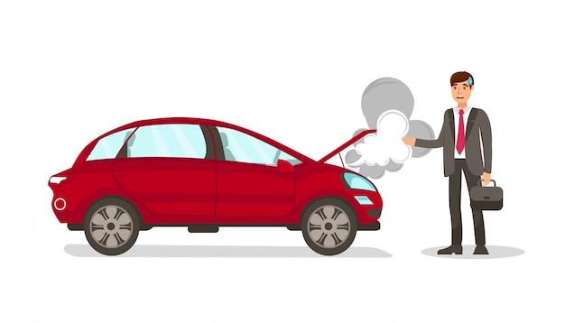 Dead car steam flat vector isolated illustration Premium Vector