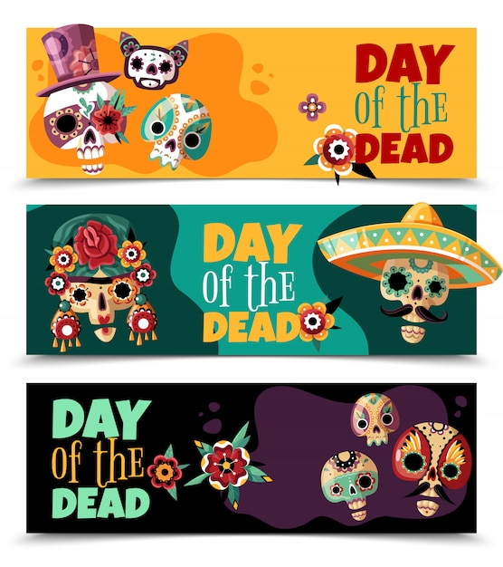 Dead day celebration 3 colorful horizontal banners set with funny ornamented sculls masks Free Vector