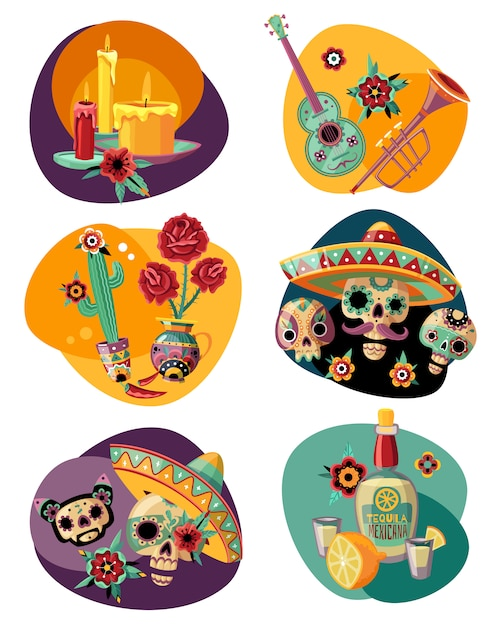 Dead day celebration 6 colorful compositions set with ornamented sugar sculls masks candles tequila Free Vector