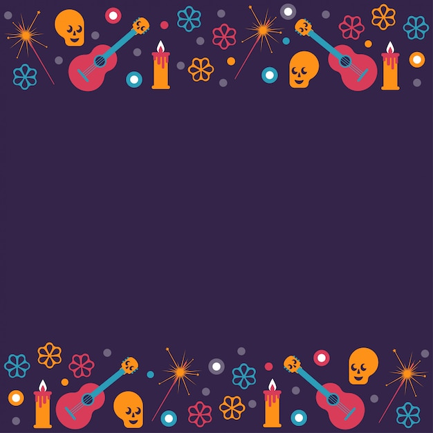 Dead day festival frame background with main holiday symbols Premium Vector