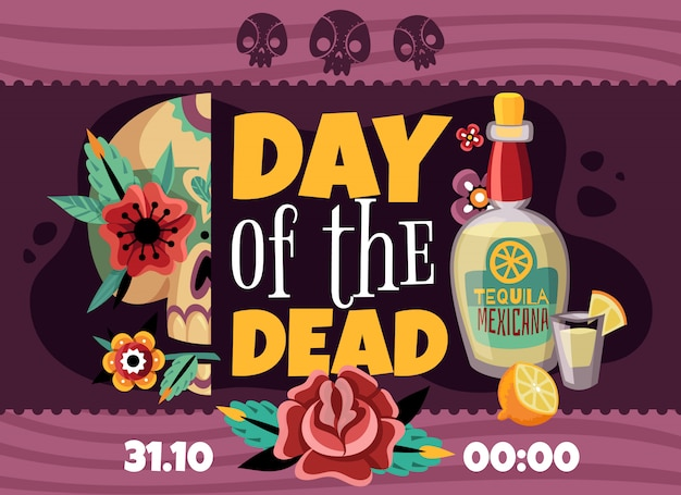 Dead day party announcement horizontal poster with data time tequila rose flower sculls colorful decorative Free Vector