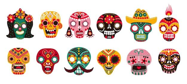 死者の日の頭蓋骨。メキシコの砂糖人間の頭の骨ハロウィーンの入れ墨diade losmuertosベクトルセット Premiumベクター