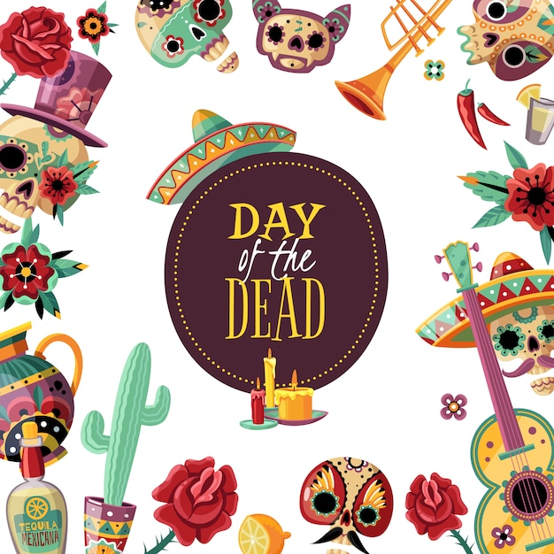 Dead day square frame poster with event elements decorative border guitar scull in sombrero cactus Free Vector