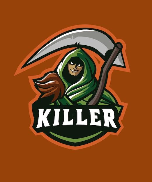 Dead killer e sports logo Premium Vector