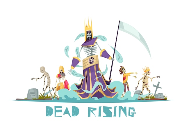 Dead rising spooky design concept with ghosts walking around cemetery between graves with crosses  illustration Free Vector