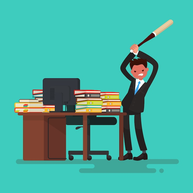 Deadline. angry worker breaks the desk littered with documents. Premium Vector