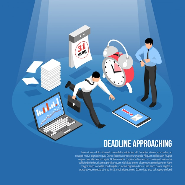 Deadline approaching template with alarm clock calendar laptop and hurrying men 3d Free Vector