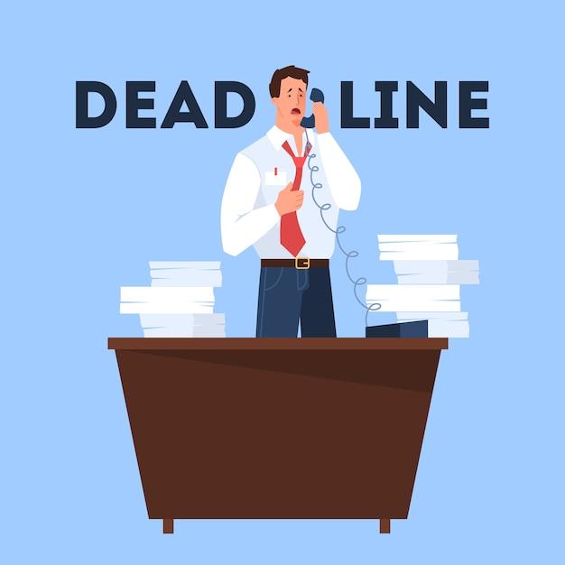 締め切りコンセプト。多くの仕事と少ない時間のアイデア。急いでいる従業員。パニックとストレス。ビジネス上の問題。漫画のスタイルのイラスト Premiumベクター