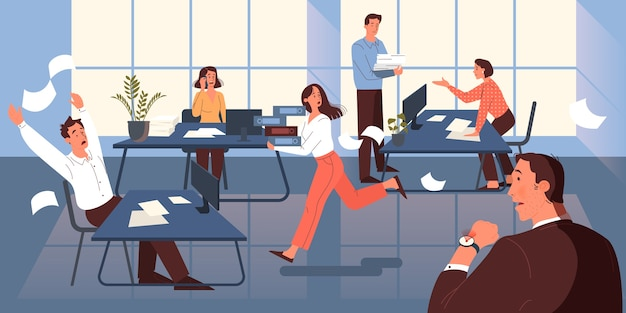 締め切りコンセプト。多くの仕事と少ない時間のアイデア。急いでいる従業員。オフィスでパニックとストレス。ビジネス上の問題。図 Premiumベクター