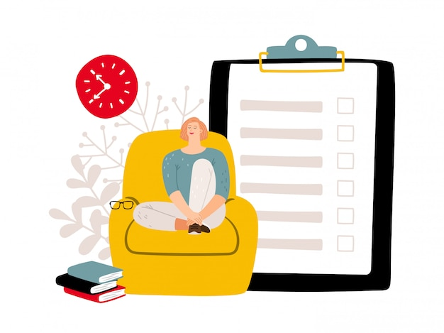 Deadline concept. to do list and relaxed woman. Premium Vector
