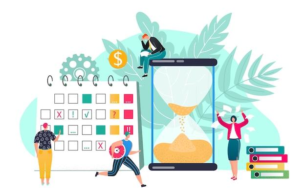 時間管理図の期限コンセプト。効果的な時間の費やし、時間の計画。砂時計とプランナー、ワークフロー編成のスケジュール。締め切りを尊重します。効率的な就業日。 Premiumベクター