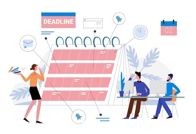 作品イラストの締め切り。漫画のビジネス人々はワークフローを整理し、リマインダープランナーカレンダー、効果的な時間管理、白のマルチタスクの概念に期限を計画します。 Premiumベクター