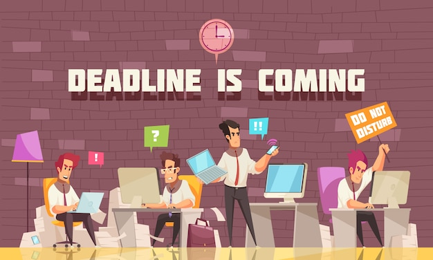 Deadline is coming flat illustration with business people busy with urgent work and brainstorming Free Vector