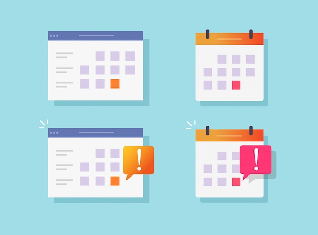 Deadline notification event reminder on calendar or website notice vector flat cartoon icons set Premium Vector