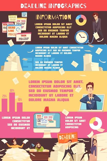Deadline pressure cartoon infographic Free Vector