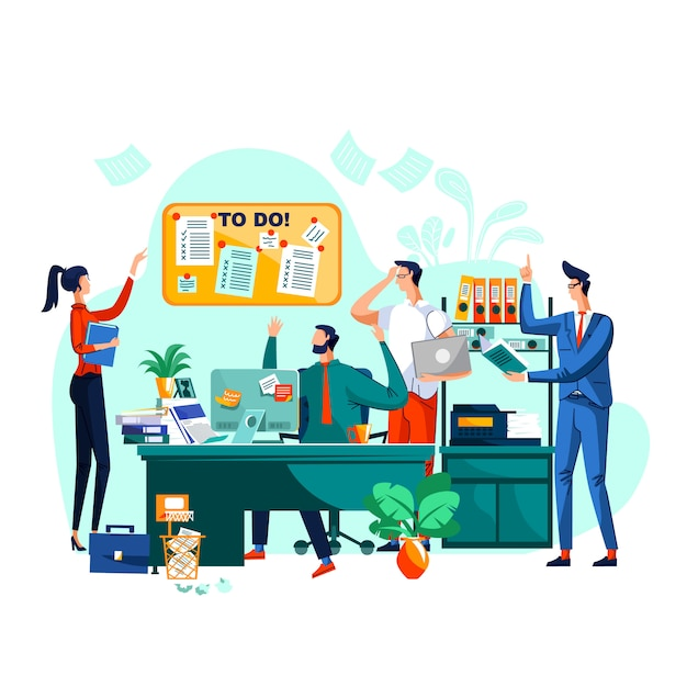 Deadline, teamwork and brainstorm business concept Free Vector