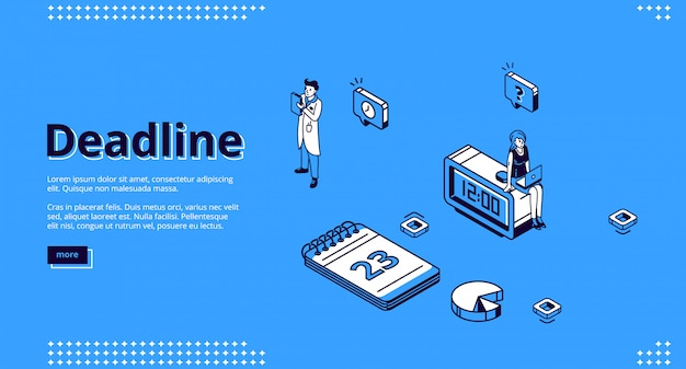 Deadline, time management isometric landing page Free Vector