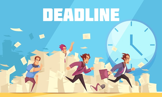 Deadline vector illustration with clock and running people who are late for work Free Vector