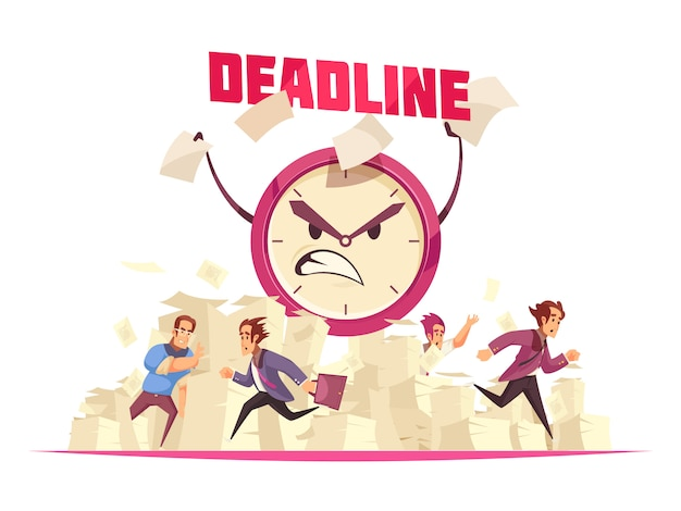Deadline with flying paper sheets people running to office and angry cartoon face of alarm clock Free Vector
