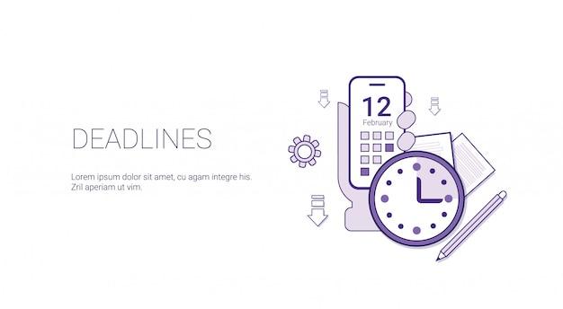 Deadlines web banner business time management schedule concept Premium Vector