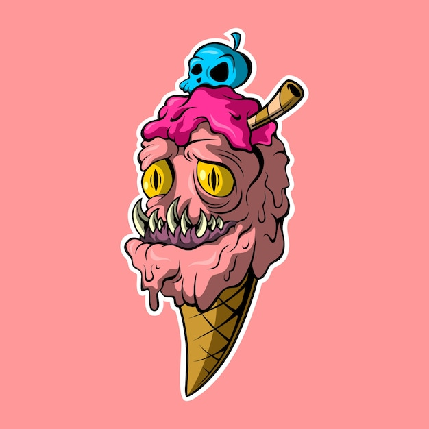 Deadly ice cream Premium Vector