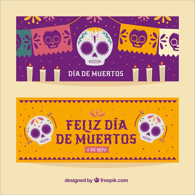 Deads' day celebration banners Free Vector