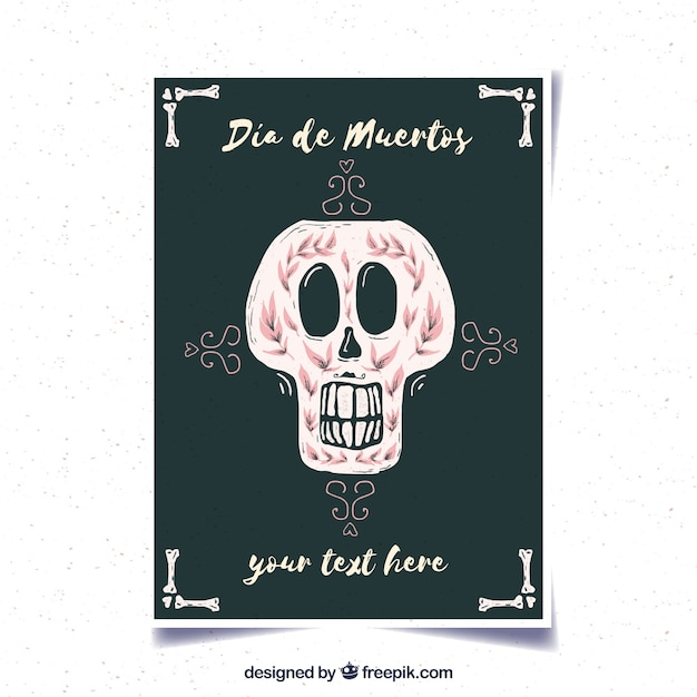 Deads' dayposter with decorative watercolor skull