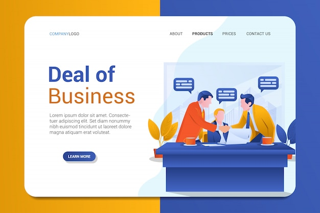 Deal of business landing page background vector template Premium Vector