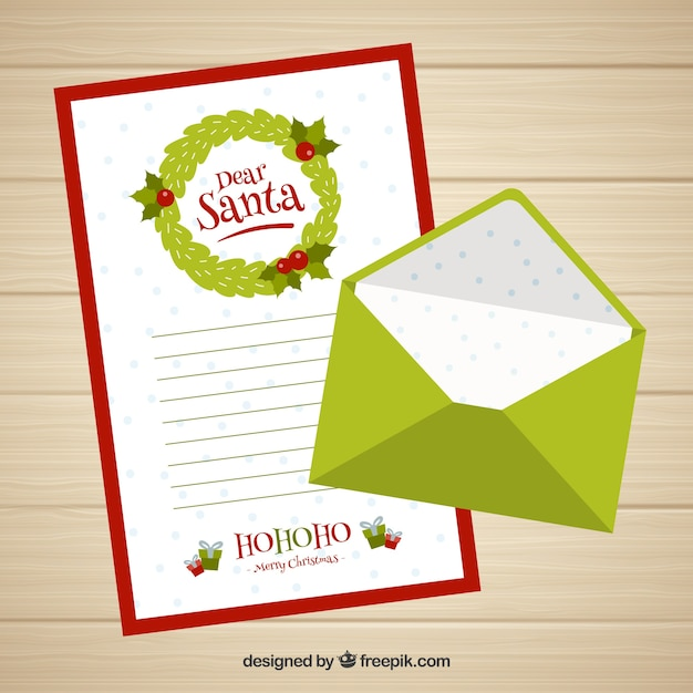 dear santa letter template with a green envelope free vector