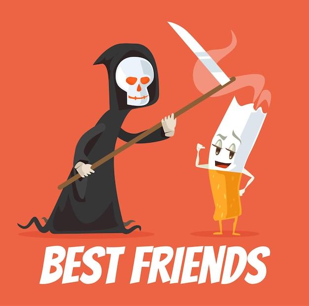 死とタバコのキャラクターの親友。 Premiumベクター