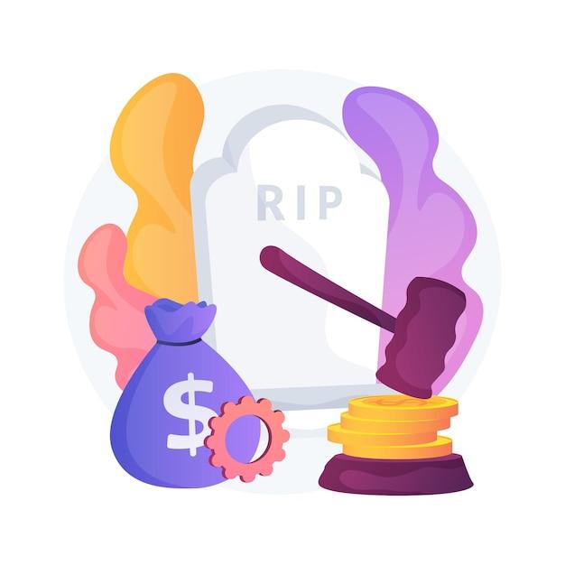 死の助成金の抽象的な概念の図。死別助成金、政府支給、死亡保険、妻夫の配偶者の死亡、悪意、自動車事故、緊急事態 無料ベクター