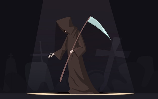 Death with scythe traditional black-hooded grim reaper symbolic