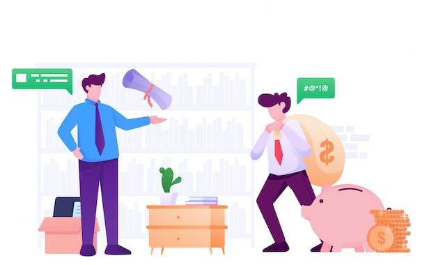 Платить налог и debcollector плоской иллюстрации Premium векторы