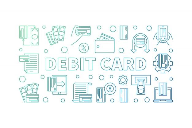 Debit card outline concept colored horizontal illustration Premium Vector