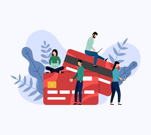 Debit or credit card payment, business concept vector illustration Premium Vector