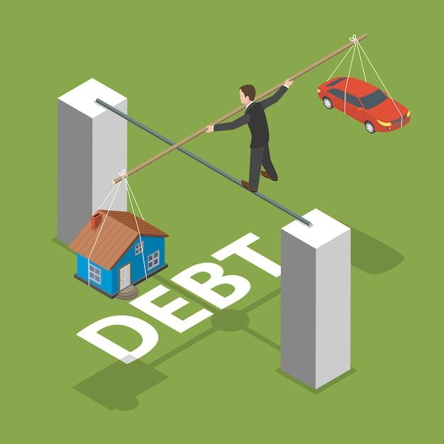 Debt isometric flat vector concept. Premium Vector