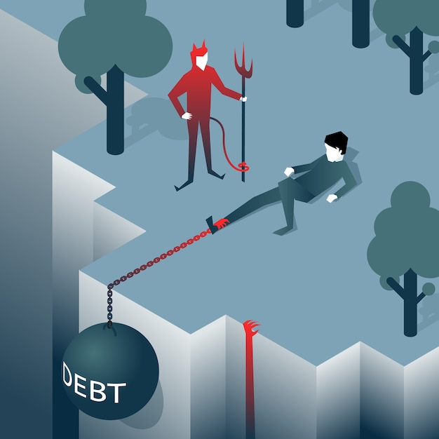 Debt takes off man over a cliff. load pulls into the abyss. bankruptcy, liabilities. vector illustration Free Vector