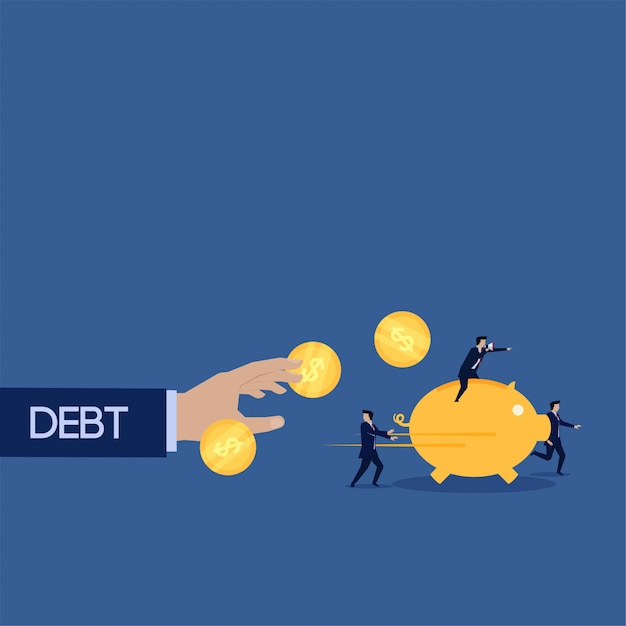 Debt try catch business team run with piggy bank coin Premium Vector