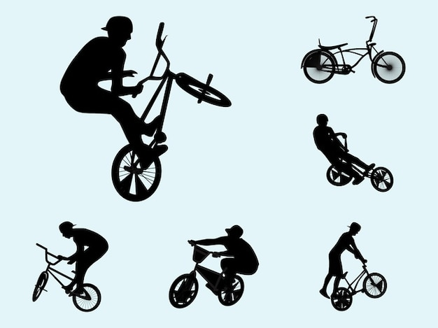 Decal biker silhouettes activity vector Free Vector