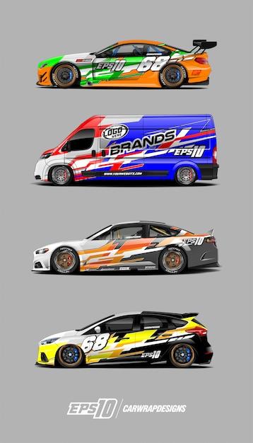 Decal car set for race car Premium Vector