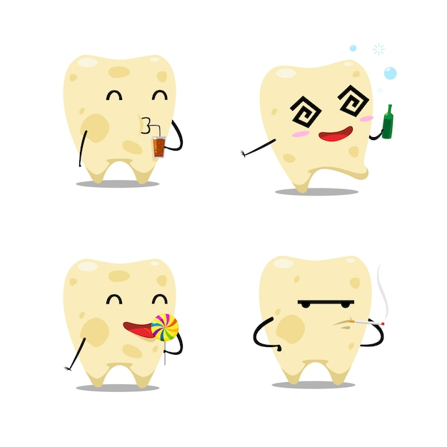 The decay tooth set. isolated vector illustration Premium Vector