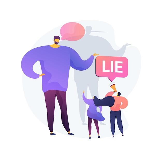 거짓말을하는기만적인 남자. 확성기를 가진 사람들은 속임수로 거짓말을합니다. 가짜 정보 유포, 사기 고발, 부정직 한 사람. 무료 벡터