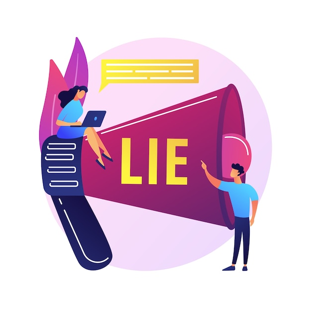 Deceitful man telling lies. people with megaphone incriminate liar with cheating. fake information spread, fraud accusation, dishonest person. Free Vector